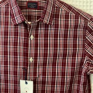 NWT UNTUCKit Wrinkle Free Slim Fit Red Plaid Shirt